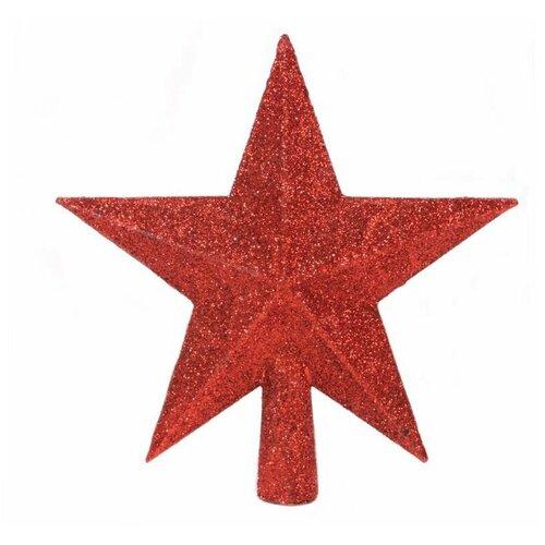 Елочная верхушка звезда делюкс, пластик, глиттер, цвет: красный, 19 см, Kaemingk