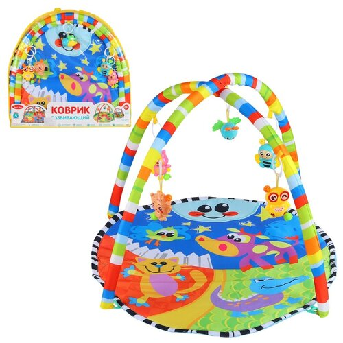 Детский коврик развивающий для малышей Smart Baby с подвесками-погремушками, коврик для ползания детский, коврик для детей, игровой коврик детский, коврик для малышей, коврик для ребенка, коврик для детей игровой, мягкий, размер 82 х 64 см, цвет синий