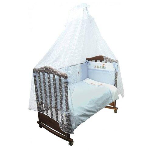 Купить Сонный Гномик комплект Паровозик (7 предметов) голубой, Постельное белье и комплекты