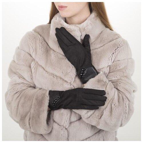 Перчатки жен, 23,5 см, утеплитель иск мех, манжет 4 пуговицы, черный 5420614