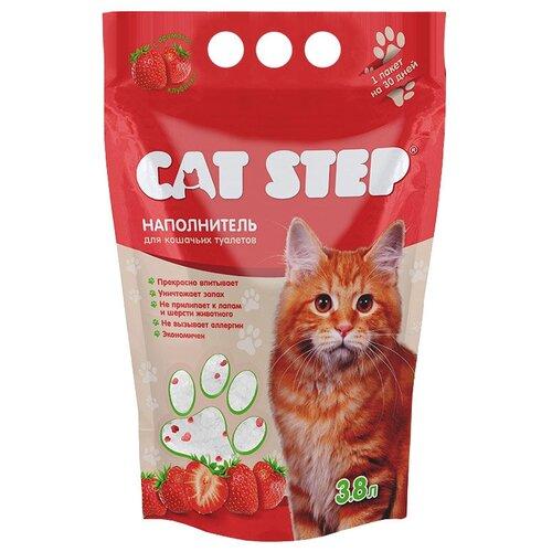 Фото - Впитывающий наполнитель Cat Step с ароматом клубники, 3.8 л впитывающий наполнитель for cats с ароматом зеленого чая 4 л
