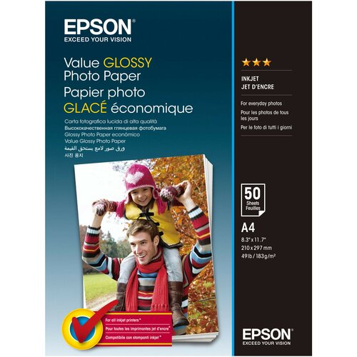 Фото - Бумага Epson A4 Value Glossy Photo Paper 183 г/м² 50 лист. бумага epson a4 premium glossy photo paper c13s041624 255г м2 50 лист белый