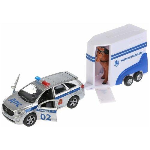 Легковой автомобиль ТЕХНОПАРК KIA Sorento Prime + фургон с лошадью (SB-18-06WB), серебристый/белый/синий