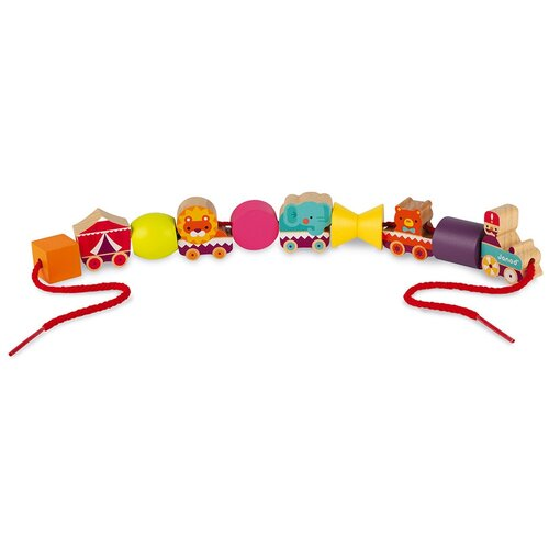 каталки игрушки janod на веревочке ксилофон sweet cocoon Шнуровка Janod Цирк на веревочке разноцветный