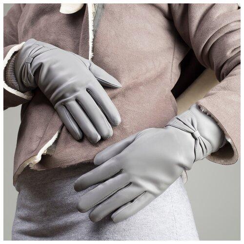 Перчатки жен, р-р8, 24*1*8см, бантик, подклад иск мех, серый 1906266