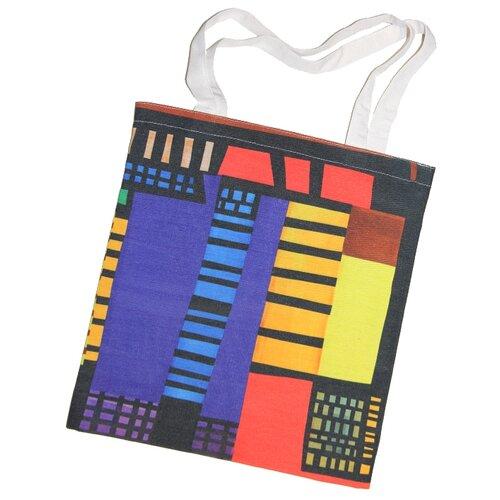 Сумка шопер, полиэстер, хлопок, разноцветный, холщовая эко-сумка Оланж Ассорти с принтом