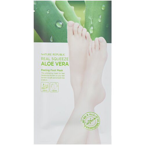 NATURE REPUBLIC Пилинг-маска для ног Real squeeze aloe vera 50 г nature republic 150ml face toner soothing