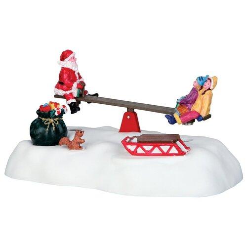 фигурка lemax платформа с рождественскими игрушками 10 4 x 18 x 10 см красный зеленый Фигурка LEMAX композиция Качели Санты 9.6 x 16.7 x 10.4 см белый/красный