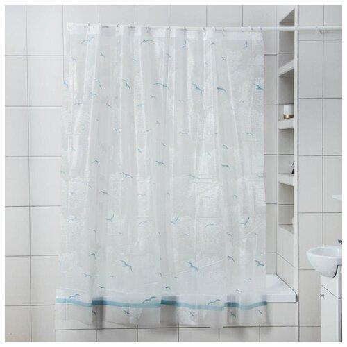 Фото - Штора для ванной Чайки, 180х180 см, EVA 5430650 штора для ванной доляна графика 180х180 732658 синий