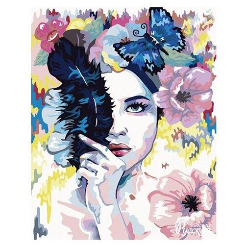 набор для рисования по номерам цветной элегантность в белом марка спейна 40 x 50 см R012 Набор для рисования по номерам 'Девушка-загадка' 40*50