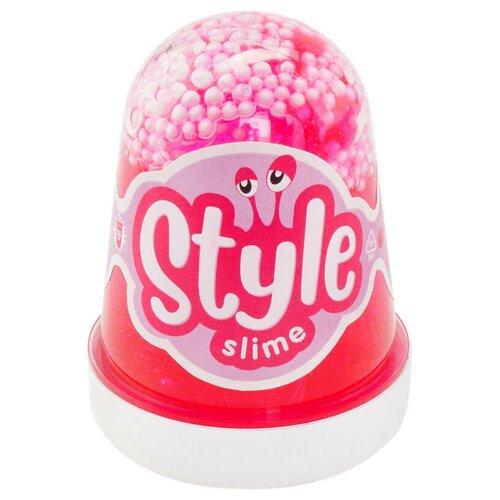 Лизун LORI Style Slime с шариками с ароматом клубники розовый