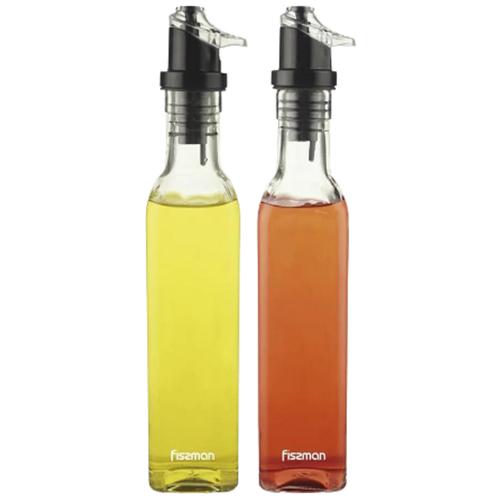 Fissman Набор бутылок для масла и уксуса 6514 прозрачный/черный fissman бутылочка для масла или уксуса 150 мл прозрачный серебристый белый