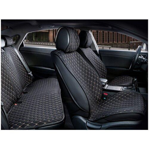 Комплект накидок на автомобильные сиденья CarFashion CROWN черный/черный/бежевый