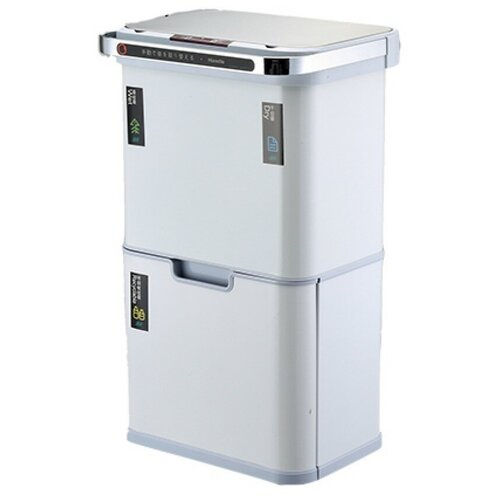 Ведро для раздельного сбора мусора сенсорное, 4 емкости, Foodatlas JAH-8888, 40л (9+9+11+11) (белое) ведро для мусора держатель б полотенец foodatlas jah 543 6л белый