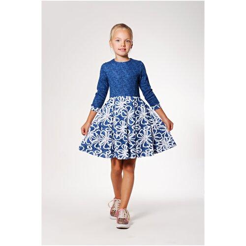 Платье 5+ Гжель, 134 р., голубой, белый