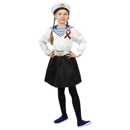 Купить Карнавальный костюм Страна Карнавалия Морячка в бескозырке , фланка, юбка, ремень, лента 40 см, размер 40, рост 152 см, Карнавальные костюмы