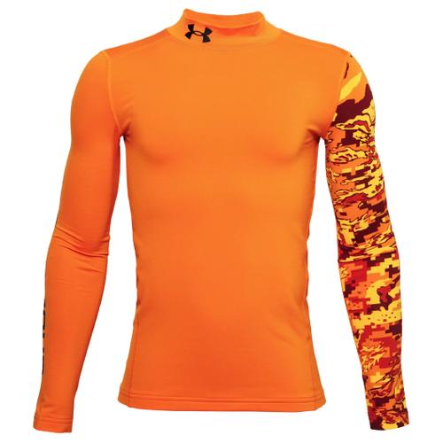 Лонгслив Under Armour ColdGear Armour Printed Mock, размер YMD, orange-850