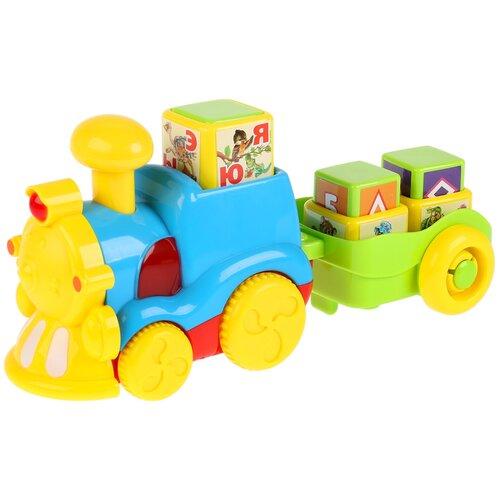 Интерактивная развивающая игрушка Умка Обучающий паровоз Азбука животных, желтый/голубой/зеленый