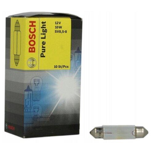 Фото - Лампа автомобильная накаливания Bosch Pure Light 1987302210 12V 10W 10 шт. лампа автомобильная накаливания bosch pure light 1987301017 p21w 12v 21w 2 шт