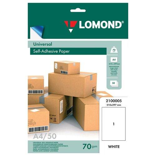 Фото - Бумага Lomond А4 Self-Adhesive Universal Paper 2100005 70 г/м² 50 лист., белый бумага lomond а4 2210003 самоклеящаяся 90 г м² 25 лист 1фр