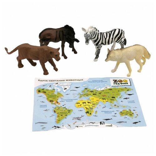 Игровой набор S+S Животные с картой обитания 4 шт Zooграфия S+S