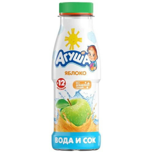 Напиток сокосодержащий Агуша Вода и Яблоко, без сахара, 0.3 л
