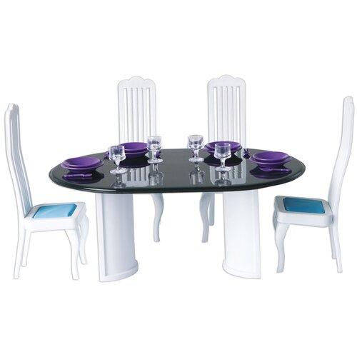 Купить ОГОНЁК Набор мебели для столовой Конфетти (С-1332) белый/голубой/черный, Мебель для кукол