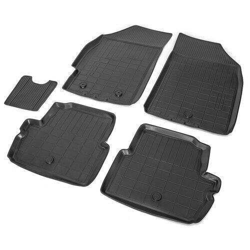 накладки порогов rival для ravon r4 2016 4 шт Комплект ковриков салона RIVAL 11006001 для Chevrolet Spark, Ravon R2 5 шт. черный