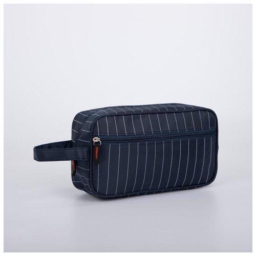 Косметичка дор L- N765, 25*8,5*14, отд на молнии, н/карман, полосы синий 6490555