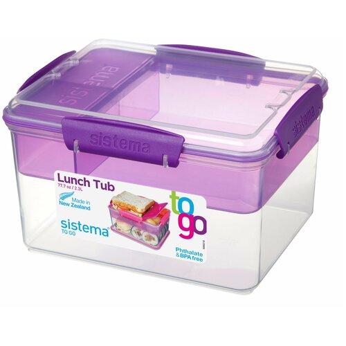 Фото - Sistema Контейнер двухуровневый с разделителями To-Go 21665 2.3 л, 15.7x19.7 см, фиолетовый контейнер двухуровневый to go 1 4 л 14 5х15х9 6 см 21731 sistema