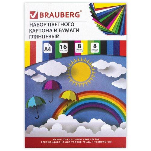 Купить Набор цветного картона и цветной бумаги BRAUBERG, A4, 16 л. 1 наборов в уп., Цветная бумага и картон