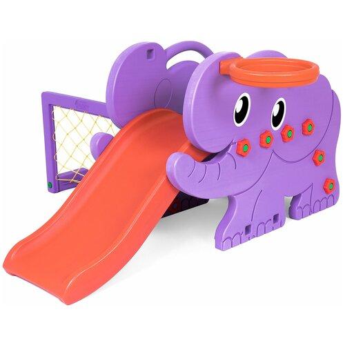 Детский игровой комплекс Happy Box JM-706D Elephant (Южная Корея) для дома и улицы: детская горка, баскетбольное кольцо с мячом, футбольные ворота с мячом