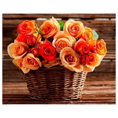 Купить Алмазная вышивка Яркие Грани Розы в плетеной корзинке , размер 50х40 см, (200х160 кристаллов), 51 цвет