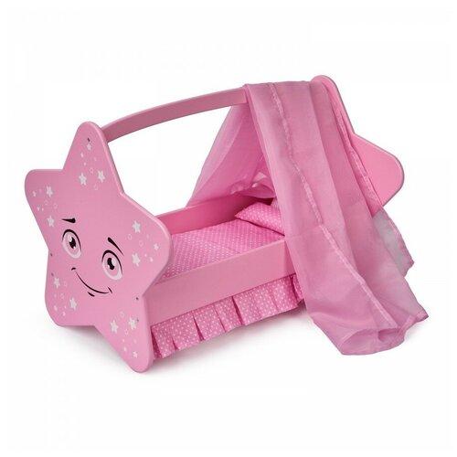 Манюня Diamond star Кроватка с постельным бельем и балдахином (74119) розовый