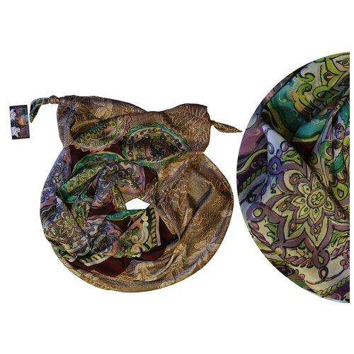 Двойной шарф-долька Оланж Ассорти серия Апрель с узелками dolka-шелк-z-137