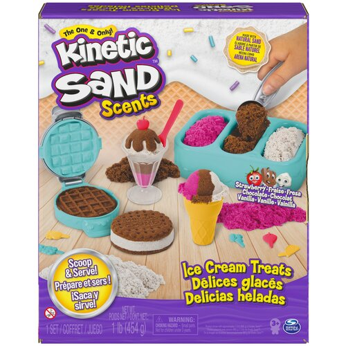Кинетический песок Kinetic Sand Магазинчик мороженного (6059742), розовый/коричневый/белый, 0.45 кг, картонная пачка