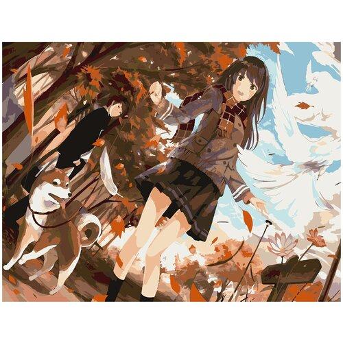 Купить Картина по номерам Анимешная девушка осень, 80 х 100 см, Красиво Красим, Картины по номерам и контурам