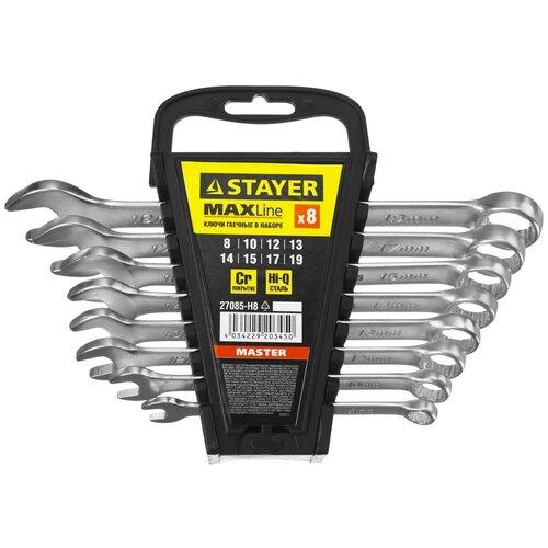 Фото - Набор комбинированных ключей 8 предметов 8-19 мм Stayer MASTER 27085-H8 набор насадок для гравера stayer master 186 предметов 29900 h186