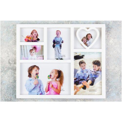Фото - Фоторамка-коллаж 28,5х23,5х1,5 см Сердечко на 6 фото, белая scb271028 металлическая подвеска сердечко белая ножка 9 см сердечко 5 3 см scrapberry s