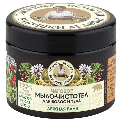 Мыло-чистотел мягкое Рецепты бабушки Агафьи Таежная баня Чаговое для волос и тела, 300 мл