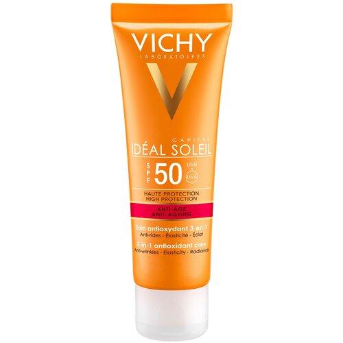 Купить Vichy крем Capital Ideal Soleil Anti - Aging 3в1 с антиоксидантами, SPF 50, 50 мл