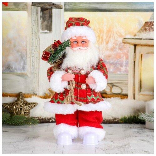 Фигурка Зимнее волшебство Дед Мороз Клетчатый колпак с подарками, 28 см (3555396), красный