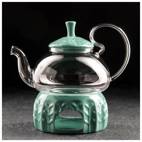 Чайник заварочный с подставкой для подогрева Элегия 600 мл, цвет зеленый 5242749 доляна чайник заварочный восточная ночь 600 мл зеленый