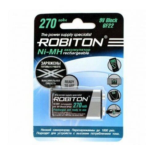 Фото - Аккумулятор Robiton 9V Крона, 6F22 (Ni-MH, 270 mAh) аккумулятор ni mh 200 ма·ч robiton 9v крона 6f22 200 1 шт