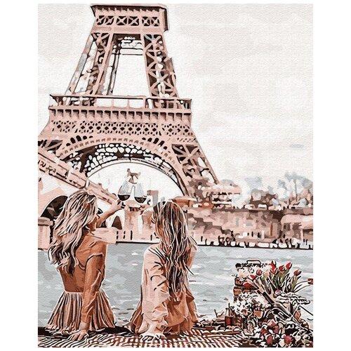 Купить Цветной картина по номерам Подружки в Париже 40х50 см (GX30103), Картины по номерам и контурам