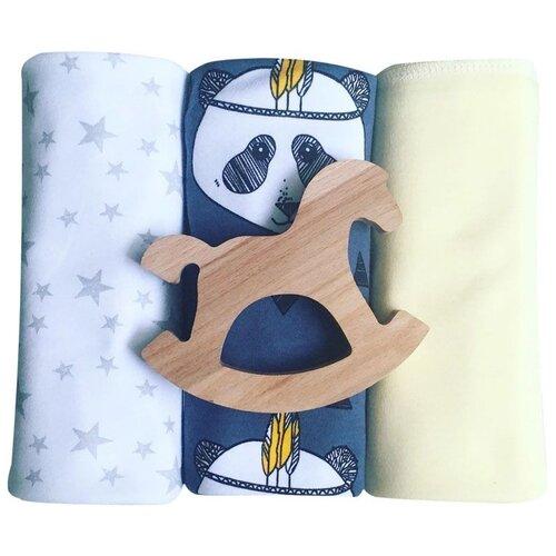 Купить Многоразовые пеленки Mjolk Mjolk Панды/Жёлтый/Звёзды 80х80 см 3 шт. синий/белый/желтый, Пеленки, клеенки