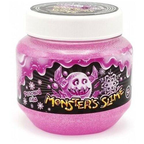 Лизун Monster's Slime Классический большой с блестками Розовый лед