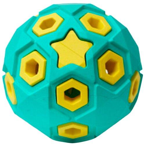 Игрушка для собак Homepet Silver Series Звездное небо мяч каучук бирюзово-желтый 8 см (1 шт)