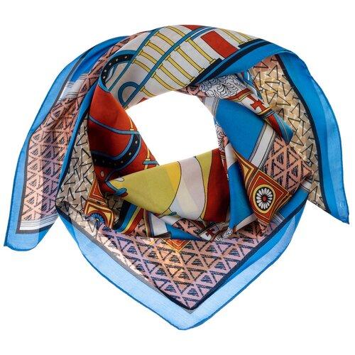 Шелковый платок на шею/Платок шелковый на голову/женский/Шейный шелковый платок/стильный/модный /21kdg70951101-21vr голубой,бежевый/Vittorio Richi/80% шелк,20% полиэстер/70x70