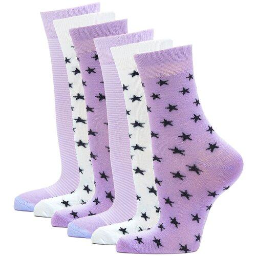 Носки женские повседневные с рисунком HOSIERY 75217 р 23-25 (36-39 размер ноги) сиреневый 6 пар